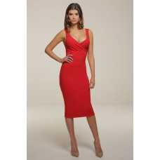 Honor Gold Red Darcey Midi Pencil Dress