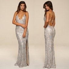 Honor Gold Luxe GIA Sequin Maxi Gown Silver