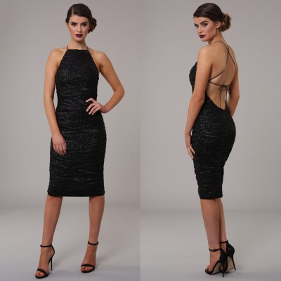 Honor Gold Luxe Harley Midi Sequin Dress Black