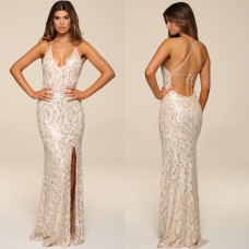 Honor Gold Luxe GIA Sequin Maxi Gown Pearl