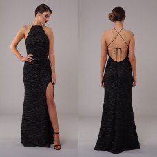 Honor Gold Luxe Harley Maxi Sequin Gown Black