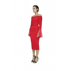 Joe's Jungle Off Shoulder Midi Dress Red