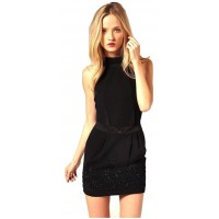 Karen Millen Beaded Tailored Mini Dress Black