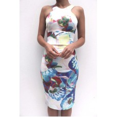 Karen Millen Orchid Print Pencil Dress Blue