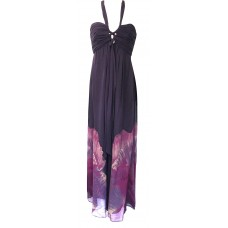 Karen Millen Floral Halterneck Silk Maxi Dress Purple