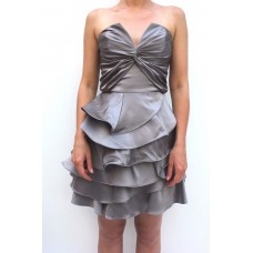 Karen Millen Statement Frill Prom Dress Pewter silver
