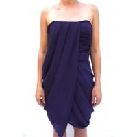 Karen Millen Draped Strapless Dress Purple