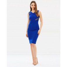 Karen Millen Lace Panel Pencil Dress Blue