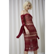 Keepsake Walk On By Lace Midi Dress Berry Red