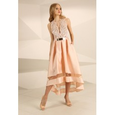 Nataliya Couture Antonia Lace Detail Dress Blush Pink