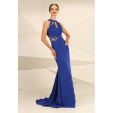 Nataliya Couture Dress Ava Lace Jersey Gown Blue