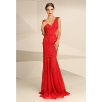 Nataliya Couture Dress Mia Bella Lace Applique Gown in Red