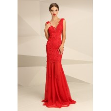 Nataliya Couture Mia Bella Lace Applique Gown in Red