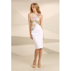Nataliya Couture Elvie Midi Floral Dress White