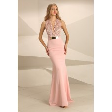 Nataliya Couture Dress Hannah Lace Jersey Gown in Blush Pink
