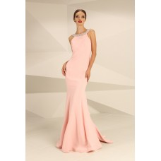 Nataliya Couture Margo Backless Embellished Gown Pink