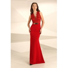 Nataliya Couture Hannah Lace Jersey Gown in Red