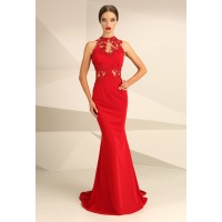 Nataliya Couture Dress Ava Lace Jersey Gown Red
