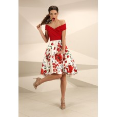 Nataliya Couture Poppy Floral Dress Red Multi
