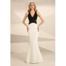 Nataliya Couture Tara Lace Detail Gown Black and Cream
