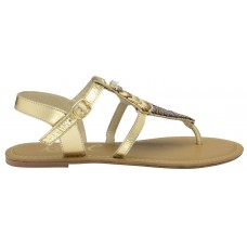Ravel Beaded Leather Flat Sandals Gold