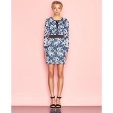 Ukulele Bluebell Floral Lace Dress Blue