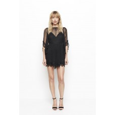 Alice McCall Lucky Charm Spotted Lace Mini Dress Black