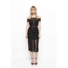 Alice McCall Black Lace Midi Off The Shoulder Dress