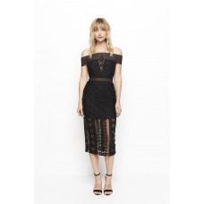 Alice McCall Black Lace Midi Off The Shoulder Dress