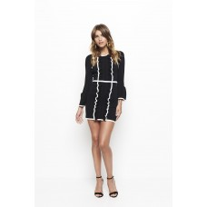 Alice McCall I'm Here Frill Knit Mini Dress Long Sleeves in Black