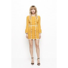 Alice McCall I'm Here Frill Knit Mini Dress Turmeric Yellow