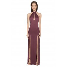 Aloura London Saffron Long Backless Gown Berry