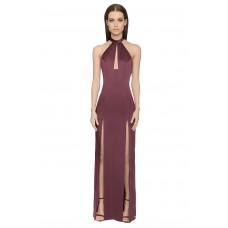 Aloura London Saffron Long Backless Gown Berry