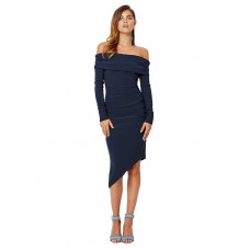 Bec and Bridge Off The Shoulder Crepe Bodycon Dress Blue