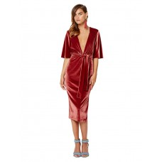 Bec and Bridge Ruba Velvet Midi Plunge Dress Pink