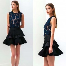 Bronx And Banco Alexa Ruffle Dress Black | Navy