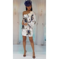 Coy Floral Bodycon One Shoulder Dress White Multi