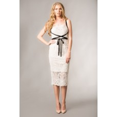 Giselle And Sophia Chloe Midi lace Dress Black Ivory