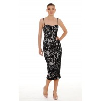 Giselle And Sophia Dolce Midi lace Corset Dress Black