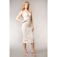 Giselle And Sophia Dolce Midi lace Corset Dress Ivory