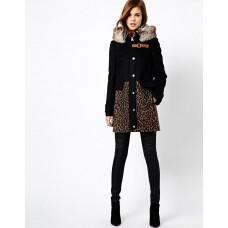 Karen Millen Contrast Leopard Print Coat Black / Multi
