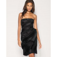 Karen Millen Strapless Pleated Black Dress