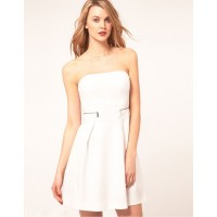 Karen Millen Tailored Strapless Dress White
