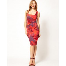 Karen Millen Feminine Floral Pencil Dress Red