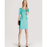 Karen Millen Peplum Cotton Dress Aqua Green