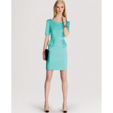 Karen Millen Peplum Cotton Dress Aqua Green