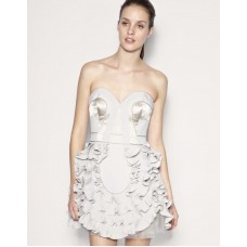 Karen Millen Corset Frill Prom Dress Neutral