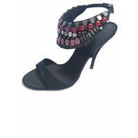 Karen Millen Tribal Beaded Sandals Black