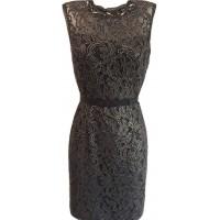 Karen Millen Metallic Lace Shift Dress Black Gold