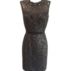 Karen Millen Metallic Lace Shift Dress Black Gold